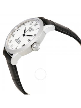 TISSOT TIME-ONLY WATCH LE LOCLE POWERMATIC 80 IN STEEL BLACK LEATHER STRAP