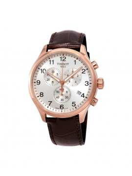TISSOT QUARTZ CHRONO XL CLASSIC CLOCK AND BROWN COW LEATHER STRAP