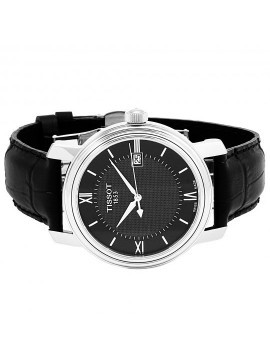 TISSOT BRIDGEPORT QUARTZ WATCH STEEL BLACK LEATHER STRAP