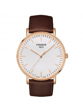 TISSOT EVERYTIME LARGE QUARTZ WATCH AND STRAP IN BROWN LEATHER