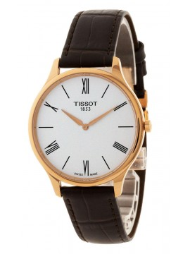 TISSOT CLOCK ONLY TIME TRADITION 5.5 RED STEEL STRAP LEATHER BROWN