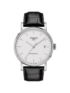 TISSOT EVERYTIME SWISSMATIC WATCH STEEL STRAP IN BLACK LEATHER