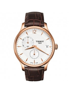 TISSOT CLOCK ONLY TIME TRADITION GMT STEEL ROSE STRAP LEATHER BROWN