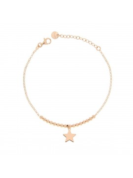 RUE DES MILLE MICRO BRACELET 1 STAR SILVER PLATED ROSE GOLD PLATED