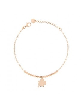 RUE DES MILLE MICRO BRACELET 1 FOUR-LEAF CLOVER SUBJECT SILVER GOLD PLATED ROSE