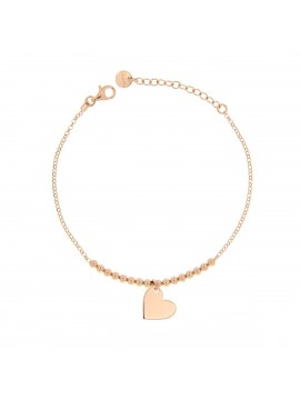 RUE DES MILLE MICRO BRACELET 1 HEART SILVER GOLD PLATED PINK ROSE