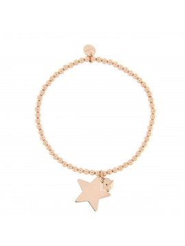 RUE DES MILLE BRACELET WITH BALLS ELASTIC AND STAR CHARM IN SILVER ROSE GOLD PLATED
