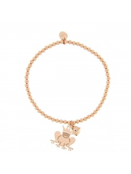 RUE DES MILLE BRACELET WITH ELASTIC BALLS AND FROG PENDANT IN PINK GOLD PLATED SILVER