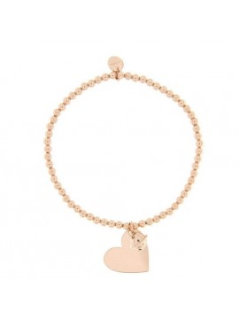 RUE DES MILLE BRACELET WITH BALLS ELASTIC AND PENDANT HEART IN SILVER GOLD PLATED PINK