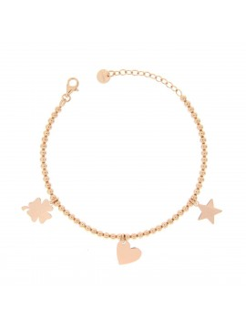 RUE DES MILLE BRACELET BALLS 3 SUBJECTS THEME LOVE SILVER GOLD PLATED PINK