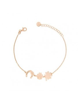RUE DES MILLE BRACELET WITH 3 SUBJECTS THEME LUCK SILVER ROSE GOLD PLATED