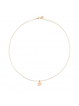 RUE DES MILLE NECKLACE 1 MICRO QUADRIFOGLIO SUBJECT IN PINK GOLD PLATED SILVER