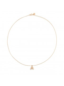 RUE DES MILLE NECKLACE 1 SUBJECT MICRO CARRIAGE IN SILVER ROSE GOLD PLATED