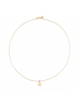 RUE DES MILLE NECKLACE 1 SUBJECT MICRO FROG IN SILVER ROSE GOLD PLATED