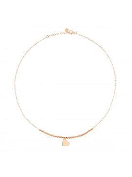 RUE DES MILLE NECKLACE BALLS 1 HEART IN SILVER ROSE GOLD PLATED SILVER