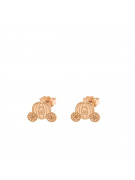 RUE DES MILLE LOBO EARRINGS CARRIAGE SUBJECT IN PINK GOLD PLATED SILVER