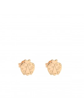 RUE DES MILLE EARRINGS LOBO SOGETTO LADYBIRD IN SILVER ROSE GOLD PLATED