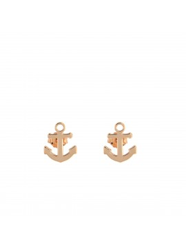 RUE DES MILLE LOBO EARRINGS ANCHOR SUBJECT IN PINK GOLD PLATED SILVER