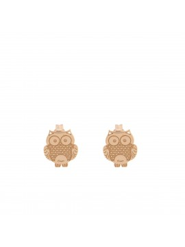 RUE DES MILLE LOBO EARRINGS OWL SUBJECT IN PINK GOLD PLATED SILVER