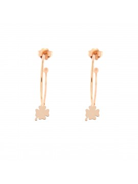 RUE DES MILLE 3CM CIRCLE EARRINGS FOUR-LEAF CLOVER SUBJECT IN SILVER ROSE GOLD PLATED
