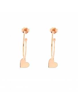 RUE DES MILLE 4CM CIRCLE EARRINGS SILVER ROSE GOLD PLATED HEART SUBJECT