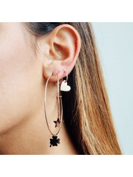 RUE DES MILLE CIRCLE EARRINGS 6CM STAR SUBJECT IN PINK GOLD PLATED SILVER