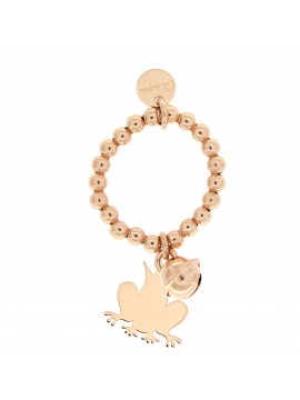 RUE DES MILLE RING WITH BALLS BELL AND FROG PENDANT SILVER PLATED ROSE GOLD