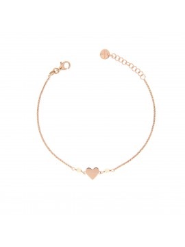 RUE DES MILLE BRACELET CHAIN WITH BEADS AND INSERT HEART IN SILVER ROSE GOLD PLATED