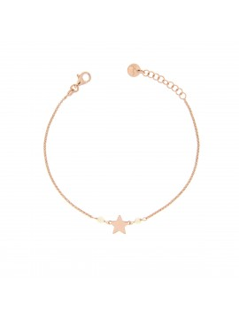RUE DES MILLE BRACELET CHAIN WITH BEADS AND STAR INSERT IN PINK GOLD PLATED SILVER