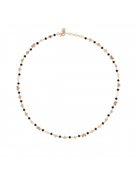 RUE DES MILLE NECKLACE WITH MICRO BLACK STONES AND MIXED SUBJECTS SILVER ROSE GOLD PLATED