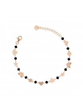 RUE DES MILLE BRACELET WITH BLACK MICROPLATE AND MIXED SUBJECTS IN SILVER ROSE GOLD PLATED