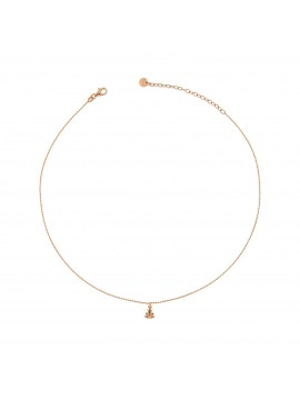 RUE DES MILLE NECKLACE 40CM ROUND PENDANT FROG SILVER GOLD PLATED PINK