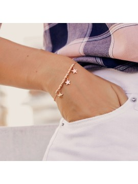 RUE DES MILLE BRACELET MICRO RINGS 3 STARS SILVER GOLD PLATED PINK