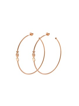 RUE DES MILLE CIRCLE EARRINGS 6CM HEART SUBJECT FOUR-LEAF CLOVER STAR SILVER GOLD PLATED PINK