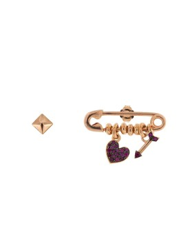 RUE DES MILLE EARRINGS AND STUD EARRINGS IN HEART AND ARROW IN SILVER AND ROSE GOLD PLATED AND ZIRCONIA