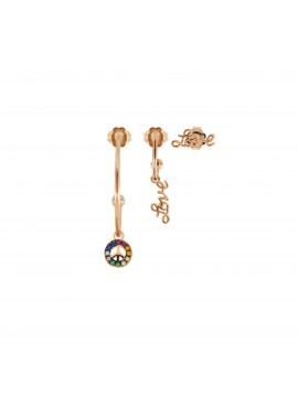 RUE DES MILLE EARRINGS SET 3 PIECES PEACE / LOVE / LOVE IN SILVER GOLD PLATED ROSE AND ZIRCONIA
