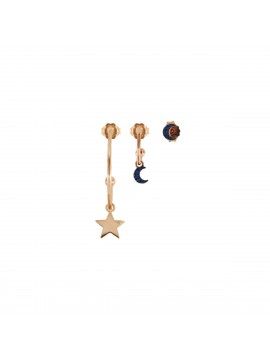 RUE DES MILLE EARRINGS 3 PIECE STARS / MOON / MOON EARRINGS IN SILVER GOLD PLATED ROSE AND ZIRCONIA