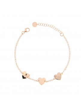 RUE DES MILLE BRACELET CHAIN 3 SUBJECTS HEART IN SILVER PLATED ROSE GOLD AND ZIRCONIA