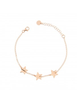RUE DES MILLE CHAIN BRACELET 3 STARS IN SILVER GOLD PLATED ROSE AND ZIRCONIA