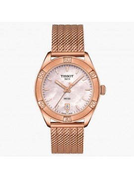 TISSOT PR 100 SPORT CHIC FOR WOMAN WATCH ONLY TIME DIAL MOTHER OF PEARL PINK