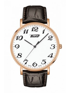 TISSOT EVERYTIME LARGE WATCH ONLY TIME IN PVD ROSE GOLD COLOR AND BROWN LEATHER STRAP