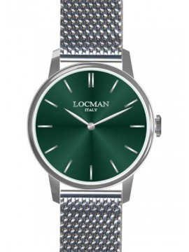 LOCMAN 1960 WATCH-ONLY TIME IN STEEL DIAL GREEN STEEL MESH