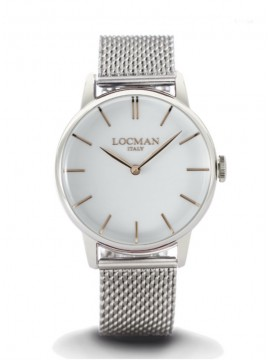 LOCMAN 1960 SINGLE-TIME STEEL WATCH WITH WHITE DIAL AND MILANESE KNIT BRACELET