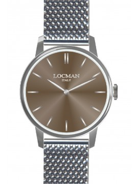 LOCMAN 1960 SINGLE TIME WATCH IN STEEL WITH BROWN DIAL AND STEEL MESH