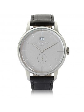 LOCMAN 1960 GRAND DATE STAINLESS STEEL CLOCK WITH SILVER DIAL AND STRAP LEATHER BLACK