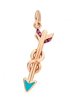 DODO PENDANT ARROW OF FRIENDSHIP IN ROSE GOLD 9K WITH RUBIES AND TURQUOISE ENAMEL