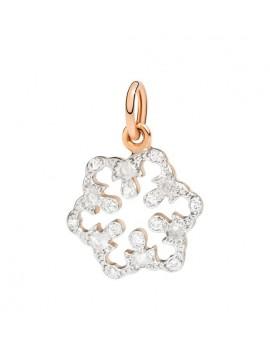 DODO PENDANT SNOWFLAKE NATURE IN ROSE GOLD 9K AND 18 DIAMONDS