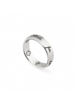 GUCCI BLIND FOR LOVE RING IN SILVER ANTIQUED GLOSSY THIN BAND