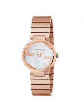 GUCCI WOMAN INTERLOCKING WATCH IN PINK STEEL WITH MOTHER OF PEARL DIAL