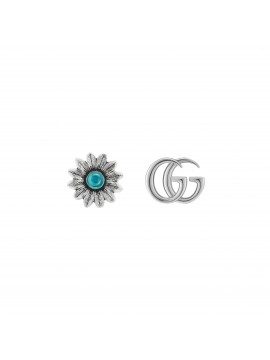 GUCCI GG MARMONT EARRINGS WITH DOUBLE G AND ANTIQUE SILVER FLOWER MOTIF
